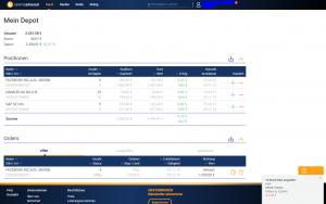 Screenshot aus dem Webtrading des GRATISBROKERS: Depotübersicht