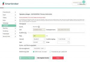 Smartbroker Anlage eines Sparplans Screenshot