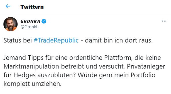 Screenshot Gronkh Twitter Trade Republic
